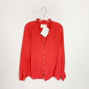 J. Crew Collection red button up silk blouse 12
